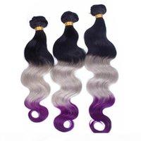 Racines noires gris et violet ombre vierge indien cheveux humains tisser wefts vague de corps # 1b gris violet 3tone ombre bundles de cheveux humains offres
