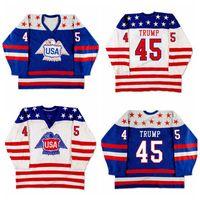 Custom Retro Donald Trump American Eagle américain # 45 USA Jersey de hockey cousu Blanc Blanc Taille S-4XL N'importe quel nom et numéro de qualité supérieure