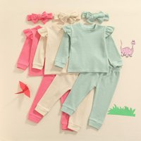 Clothing Sets 2021 Toddler Baby Girl 3Pcs Autumn Spring Set Off Shoulder Solid Top Long Pant Casual Outfit Headband 0-4Years