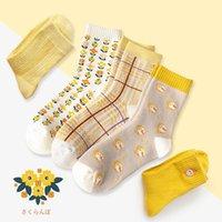 Calcetines para hombres 1 par de otoño e invierno amarillo hembra medio tubo de algodón todo lindo más terciopelo grueso
