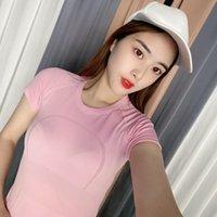 المرأة الساخنة بسرعة التقنية قصيرة الأكمام قميص size2-10 اليوغا الزي اللياقة البدنية ارتداء الرياضة