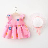 Clothing Sets Baby Kids Girls Sleeveless Bow Flower Print Princess Dress Hat Set Children's Outfit Roupa Infantil