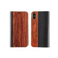 2021 Luxo Flip Leather Acessórios de madeira carteira de telefone Capas à prova de choque para iphone 6 7 8 mais 11 pro x xr max tampa traseira