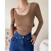 Women's T-Shirt Autumn Winter U-neck Slim Women T-shirts 2021 Sexy Long Sleeve Solid Color Warm Tops Keep