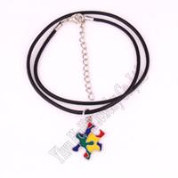 Ожерелья кулон аутизм Надежда головоломки шаблон ручной накладной эмаль цветов с кожаной веревочной цепью ID ожерелье осведомленности ювелирных изделий