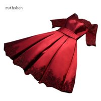 Ruthshen Yansıtıcı Dres Bordo Pembe Gelinlik Modelleri Diz Boyu Aplikler Parti Elbise Kapalı Omuz Örgün Elbise Kısa Kollu L0312