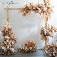 Flores decorativas guirnaldas de boda champán floral artificial flor de flores Arreglo de la fila del camino de la bola de la bola de la bola de la bola de la bola de la pared de la pared de la pared del deco