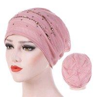Yaz Ince Dantel Türban Katı Pamuk İç Hijab Kapaklar Yumuşak Glitter Müslüman Kadınlar Turbante Bonnet Wrap Hejab UndersCarf Cap X0803
