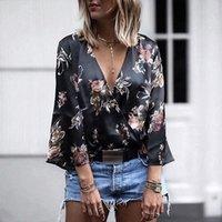 Uzzdss Femmes Femmes Mesdames Vêtements Mode Loose Coton À Manches Longues Imprimé Blouses De Deep V cou Blouse Summer Tops Femmes Chemises occasionnelles Y200828
