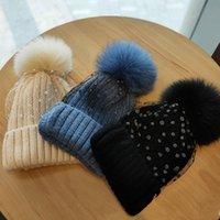 Winter-Skullies-Hut für Frauen Mädchen Hut gestrickte Mützenkappe Neue dicke weibliche Kappe 100% Natürliche Pelzkugel