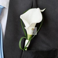Mano fatta Bianco Calla Lily Flower Corsage Groomsman Wedding Party Man Boutonniere Pin Brooch Decorazione