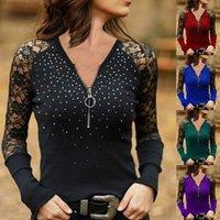 Women's T-Shirt WEPBEL Women Elegant Lace Hollow Out Shirt Top Ladies Sexy Long Sleeve V Neck Zipper Slim Fit