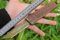 Micro Damasco Tree GRAIN COLTELLO AUTOMATICO Coltello da combattimento Trood Caccia Caccia Autodifesa Pocket Knife UT85 A07 C07 Coltello da esterno tattico all'aperto 150-10