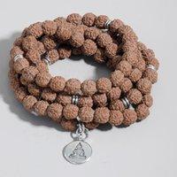 Beaded, Strands Natural Rudraksha Beaded 108 Mala Rosary Elastic Winding Armband Yoga Välsignelse Charm Bangle för män och kvinnor