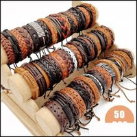 Jewelrycharm Retro Bangle Pack Of 50Pcs Lot Leather Bracelets Mixed Styles Handmade Braided Fit Men And Women Party Tangible S Jewelry Good