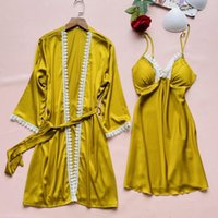 Bridal Lace Wedding Robe Set Satin Women Sexy 2PCS Nighty Bathrobe Nightgown Sleep Suit V-Neck Sleepwear Summer Dressing Gown