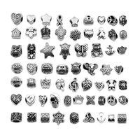 Antiquités en alliage plaqué argent Big Hole Charms Beads d'entretoise Fit 60 Bracelet différents DIY Bijoux Colliers Pendentifs