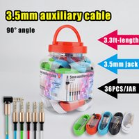 3.5mm aux cable 90° right angle head for speaker audio device mp3 mobile phone car radio stereo sound in multi colors 3.3ft wire with plastic jar