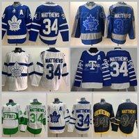 Toronto Maple Leafs Reverse Retrô 34 Auston Matthews Jersey Hóquei Ice Hóquei Arenas Stadium Series 2018-2017 Centenário Classic 100th Anniversary St Pattys Day Pats