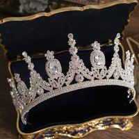 Lüks Tiaras ve Taçlar CZ Zirkonya Prenses Pageant Nişan Bandı Düğün Saç Aksesuarları Abiye Gelin Takı 210616