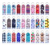 Design Print Cute Favor Neoprene Lipstick Balm Holder Keychains Handy Lip Chapstick Holders Lanyard Keychain With Metal Keyring Clips Ring HH21-357