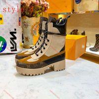 2021Les Dernières Mode Haute Qualité Inluxe En Cuir Pour femmes Plateforme Desert Bottes Dames Hiver Cuir Luxe Chaussures Femmes 5cm Chunky 35-41