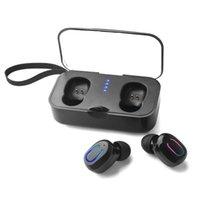 T18S Bluetooth 5.0 이어폰 TWS 무선 이어폰 내 귀 핸즈프리 스포츠 미니 이어 버드 헤드셋 마이크 충전 상자