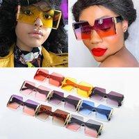 Sonnenbrille Großhandel Mode Übergroße Quadratische Randlose Frauen Marke Wohnung Top Große Sonnenbrille Weibliche Einteiler Gradienten Shades Bulk