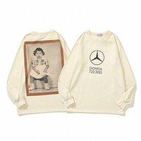 Tasarımcı Tişörtü Erkek Kanye West Donda ATL Özel Tee Hip Hop Albümü Portre Çevreleyen Uzun kollu T-shirt Moda O-Boyun Kadın Hoodies Erkekler Çiftler Q0pn #