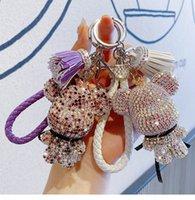 Trend full drill big head bear action figure key chaingift box female lovely tassel key chain ring bag pendant lovers accessories