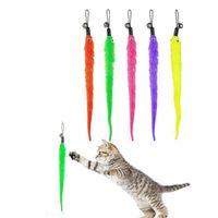 Katze Zauberstab Spielzeug Ersatz Nachfüll Plüsch Worms Pet Interaktives Spielzeug Bunte Teaser Fülle mit Glocke für Kätzchen JK2012xb
