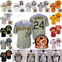 Barry Bonds Jersey Vintage Gri Pinstripe 24 25 Ev Uzakta Sarı Retro Siyah Krem Asu Beyaz Düğme Kişi Yama Kazak Boyutu S-3XL