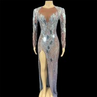 Casual Dresses Silver Mirror Stones Dress Sexy Transparent Evening Long Birthday Celebrate Mesh Outfit Dancer Singer Costumes