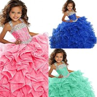 Kids Pageant Dress Princess Ball Gown Beaded Halter Straps Handmade Pleated Blue Organza Prom Gowns Flower Girls Dresses for Wedding Party AL9268
