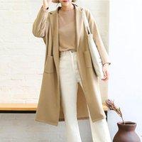 Women's Trench Coats [EWQ] Autumn 2021 Simple Ladies Mid-length Windbreaker Turn-down Collar Fashion Wide Plus Size Black Coat QB212
