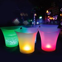 Pool & Accessories 5L 4 Color Waterproof Plastic LED Ice Bucket Bar Nightclub Light Up Champagne Whiskey Beer Bars Night Party