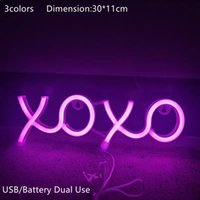 LED Neon Signs XOXO Pink Blue Warm White Light Dec Lighting Hanging Wall Night Lights