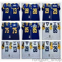 NCAA Vintage Retro # 29 Eric Dickerson Jersey 28 Marshall Faulk 85 Jack Youngblood 13 Kurt Warner 75 Diacon Jones Mens Steins Cloitched Jerseys