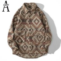 AJZHY Casual Shirt Jackets Thick Winter Geometric Pattern Long Sleeve Flannel Shirt Hip Hop Streetwear Harajuku Pockets Shirts