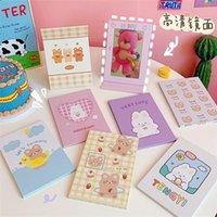 Cosmetic Bolsas Capas 2021 Coréia Maquiagem Espelho Dobrável Bonito Urso dos Desenhos Animados Pu Portátil Pequeno Para Meninas Presente