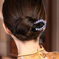 Kadınlar Kristal Rhinestone Çift Prong Saç Pin Hassas U-Şekil Firkete Kore Tarzı Rüzgar Basit Nefis Moda Şapkalar Hediye