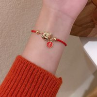 Chinese Zodiac Year of the Ox Woven Red Rope Bracelet Ethnic Style Couple Girlfriends Student Female
