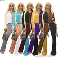 Velvet Tracksuits Women 2 Two Piece Pant Suit Contrast Color Long Sleeve Hoodie And Bell Bottom Wid Leg Pants Velour Matching Outfits