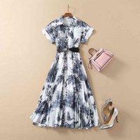 밀라노 활주로 드레스 2021 Lapel 목 짧은 소매 패널 인쇄 디자이너 드레스 브랜드 동일 스타일 드레스 0104-13
