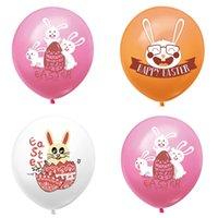 Mutlu Paskalya Balonları 12 inç Kauçuk Paskalya Bunny Baskılı Lateks Balonlar Paskalya Ev Partisi Dekor Çocuk Balon 185 N2
