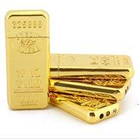덩어리 모양 담배 라이터 크리 에이 티브 금속 연삭 휠 가스 라이터 가스 라이터 가스없이 금색 벽돌 DWD5452