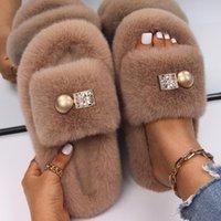 Slippers Women Fluffy Rhinestone Decor Furry Slides Ladies Luxury Designer Home Platform Winter Shoes Sandals With Fur