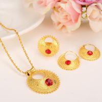 Earrings & Necklace Cute Rhinestone Ethiopian Jewelry Sets Pendant Necklaces Earrings Ring Ethiopia Gold Plate Africa Bride Wedding Eritrea