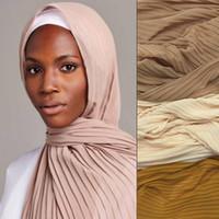 Scarves Muslim Islamic Fashion Crinkle Chiffon Hijab Pleated Stripe Headband Wrap Turban Arab Shawls Shayla For Women 180*85cm