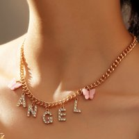 Fashion Butterfly Letters Pendant Necklaces South American 18k Gold Silver Rhinestone Chokers Necklace For Women Party Girls Gift Jewelry